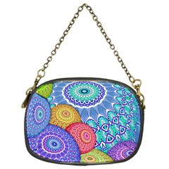 India Ornaments Mandala Balls Multicolored Chain Purses (one Side)  by EDDArt
