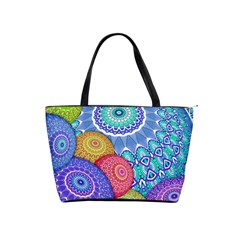India Ornaments Mandala Balls Multicolored Shoulder Handbags by EDDArt