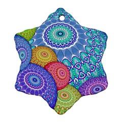 India Ornaments Mandala Balls Multicolored Snowflake Ornament (2 Side) by EDDArt