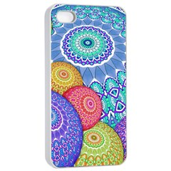India Ornaments Mandala Balls Multicolored Apple Iphone 4/4s Seamless Case (white) by EDDArt