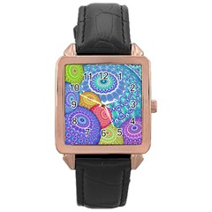 India Ornaments Mandala Balls Multicolored Rose Gold Leather Watch  by EDDArt