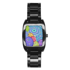 India Ornaments Mandala Balls Multicolored Stainless Steel Barrel Watch by EDDArt