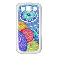 India Ornaments Mandala Balls Multicolored Samsung Galaxy S3 Back Case (white) by EDDArt