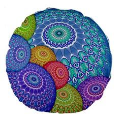 India Ornaments Mandala Balls Multicolored Large 18  Premium Flano Round Cushions by EDDArt