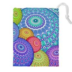 India Ornaments Mandala Balls Multicolored Drawstring Pouches (xxl) by EDDArt