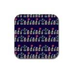 Cute Cactus Blossom Rubber Coaster (Square)
