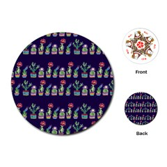 Cute Cactus Blossom Playing Cards (round)  by DanaeStudio