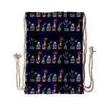 Cute Cactus Blossom Drawstring Bag (Small)