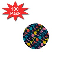 Colorful Floral Pattern 1  Mini Buttons (100 Pack)  by DanaeStudio