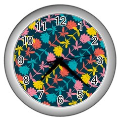 Colorful Floral Pattern Wall Clocks (silver)  by DanaeStudio