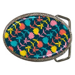 Colorful Floral Pattern Belt Buckles by DanaeStudio