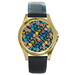Colorful Floral Pattern Round Gold Metal Watch by DanaeStudio