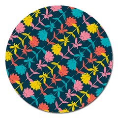 Colorful Floral Pattern Magnet 5  (round) by DanaeStudio