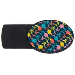 Colorful Floral Pattern Usb Flash Drive Oval (2 Gb)  by DanaeStudio