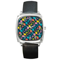 Colorful Floral Pattern Square Metal Watch by DanaeStudio