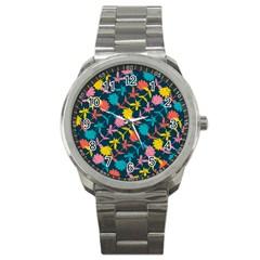 Colorful Floral Pattern Sport Metal Watch by DanaeStudio