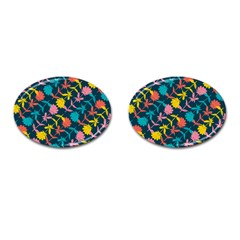 Colorful Floral Pattern Cufflinks (oval) by DanaeStudio