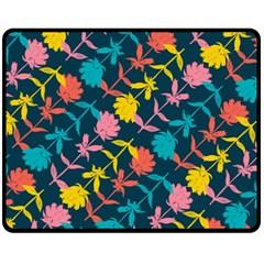 Colorful Floral Pattern Fleece Blanket (medium)  by DanaeStudio