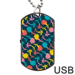Colorful Floral Pattern Dog Tag Usb Flash (one Side) by DanaeStudio