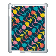 Colorful Floral Pattern Apple Ipad 3/4 Case (white) by DanaeStudio