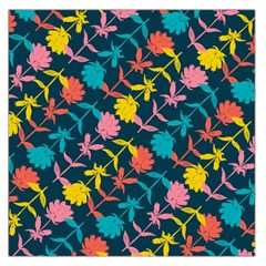 Colorful Floral Pattern Large Satin Scarf (square) by DanaeStudio