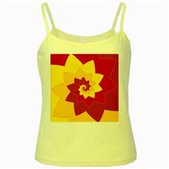 Flower Blossom Spiral Design  Red Yellow Yellow Spaghetti Tank by designworld65