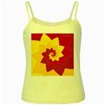 Flower Blossom Spiral Design  Red Yellow Yellow Spaghetti Tank