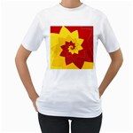 Flower Blossom Spiral Design  Red Yellow Women s T-Shirt (White) (Two Sided)