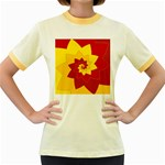 Flower Blossom Spiral Design  Red Yellow Women s Fitted Ringer T-Shirts