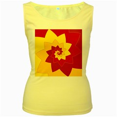 Flower Blossom Spiral Design  Red Yellow Women s Yellow Tank Top by designworld65