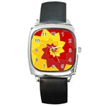 Flower Blossom Spiral Design  Red Yellow Square Metal Watch