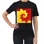 Flower Blossom Spiral Design  Red Yellow Women s T-Shirt (Black) (Two Sided)