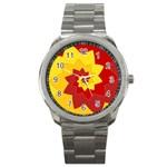 Flower Blossom Spiral Design  Red Yellow Sport Metal Watch