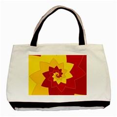 Flower Blossom Spiral Design  Red Yellow Basic Tote Bag by designworld65