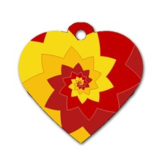 Flower Blossom Spiral Design  Red Yellow Dog Tag Heart (one Side) by designworld65