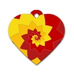 Flower Blossom Spiral Design  Red Yellow Dog Tag Heart (Two Sides)