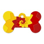 Flower Blossom Spiral Design  Red Yellow Dog Tag Bone (One Side)