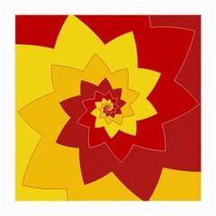 Flower Blossom Spiral Design  Red Yellow Medium Glasses Cloth (2 Side) by designworld65