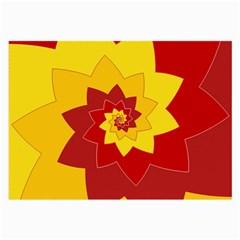 Flower Blossom Spiral Design  Red Yellow Large Glasses Cloth (2 Side) by designworld65