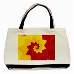Flower Blossom Spiral Design  Red Yellow Basic Tote Bag (Two Sides)