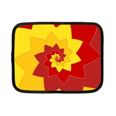 Flower Blossom Spiral Design  Red Yellow Netbook Case (small)  by designworld65