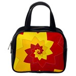 Flower Blossom Spiral Design  Red Yellow Classic Handbags (One Side)