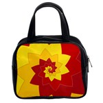 Flower Blossom Spiral Design  Red Yellow Classic Handbags (2 Sides)