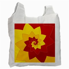 Flower Blossom Spiral Design  Red Yellow Recycle Bag (one Side) by designworld65