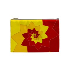Flower Blossom Spiral Design  Red Yellow Cosmetic Bag (medium)  by designworld65