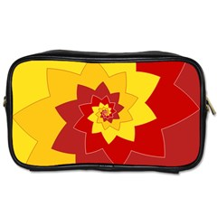 Flower Blossom Spiral Design  Red Yellow Toiletries Bags by designworld65