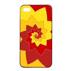 Flower Blossom Spiral Design  Red Yellow Apple Iphone 4/4s Seamless Case (black) by designworld65