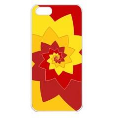 Flower Blossom Spiral Design  Red Yellow Apple Iphone 5 Seamless Case (white) by designworld65