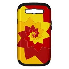Flower Blossom Spiral Design  Red Yellow Samsung Galaxy S Iii Hardshell Case (pc+silicone) by designworld65