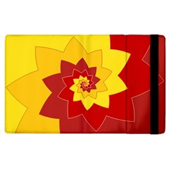 Flower Blossom Spiral Design  Red Yellow Apple Ipad 2 Flip Case by designworld65